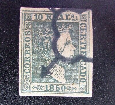 M5i _7869. Spain ed 5, Isabel 10r. 1850, usado. verde. Ver good ok