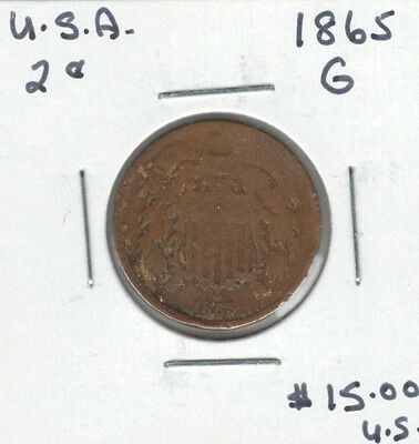 United States USA 1865 2 Cents G
