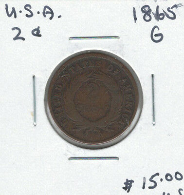 United States USA 1865 2 Cents G Lot#2