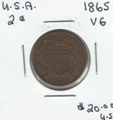 United States USA 1865 2 Cents VG