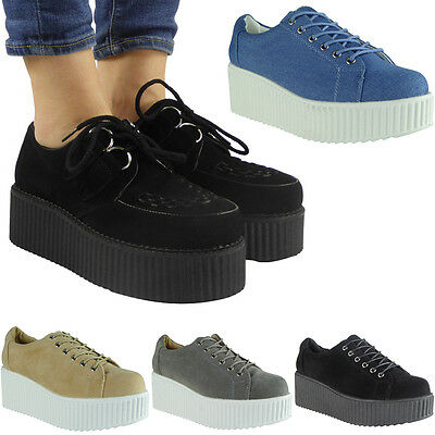 Womens Ladies Lace Up Faux Suede Punk Goth High Platform Flat Creeper Shoes Size