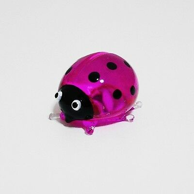Pink Ladybug Figurine Animal Hand Paint Blown Glass Decorate Collectible Gift