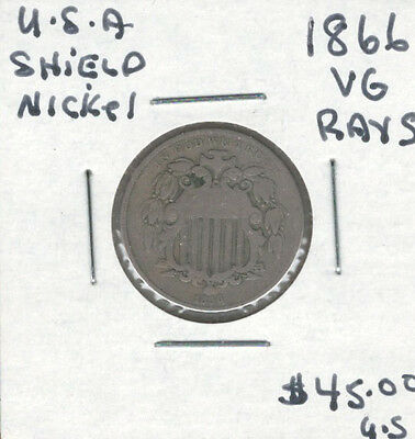 United States USA 1866 5 Cents Nickel VG Shield with Rays