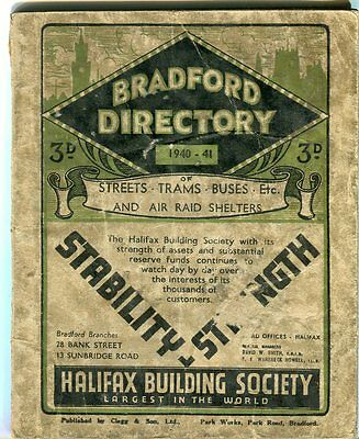 Bradford Directory of Streets, Trams and Buses, 1940