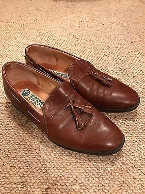 Vintage Brown Ladies Leather Loafers Size 36 UK 3 With Tassel