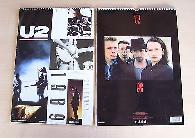 U2 ~ Lot Of 2 ~ 1988 & 1989 Calenders (Features Photos Of U2, Bono & The Edge)