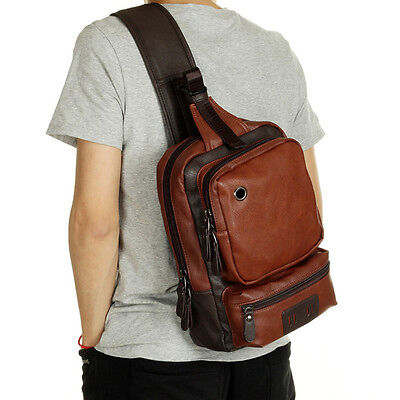 Men's Leather Chest Cycle Front Sling Shoulder Bag Outdoor Backpack  Day Packs