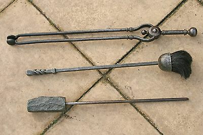 Georgian Wrought Iron Fire Irons - 18Th Century