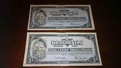 Nice Consecutive Canadian Tire Money Vintage Notes 3 Cent