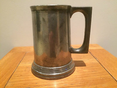collectable antiqe1 pint glass bottom pewter tankard James Dixon & sons