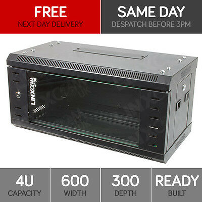 """4U 19"""" Network Cabinet Rack Wall Mounted 600*300mm Black Data Comms Patch Panel"""