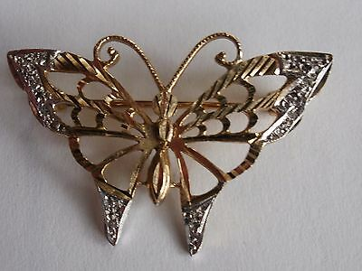"Stunning butterfly 9ct brooch with diamond chip wings 1.1/2"" across vgc"