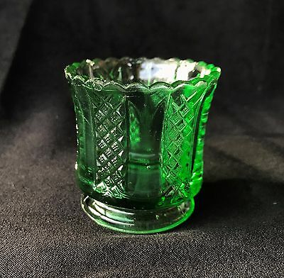 Antique Green Pattern Glass Toothpick. Paneled Diamond Pattern.