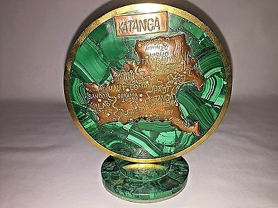 Map Forged Of Copper On Malichite (Katanga) Rare Hand Made Antique 50 years old