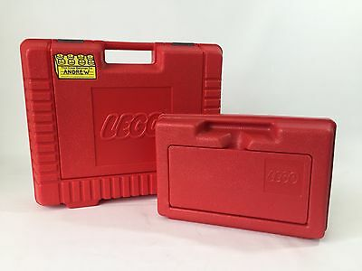 2 Red Vintage LEGO Storage Cases/Plastic Carrying Boxes 1982 &1985
