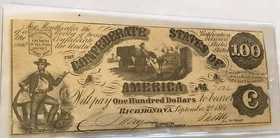 1861 $100 Bill Confederate States of America