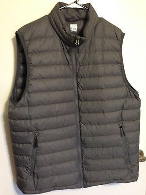 32 Degrees Men's Heat Weatherproof Vest - Pack-able - Gray XL  (Ultra Down) EUC