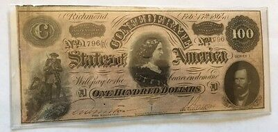 1864 One Hundred Dollar Confederate States of America Bill