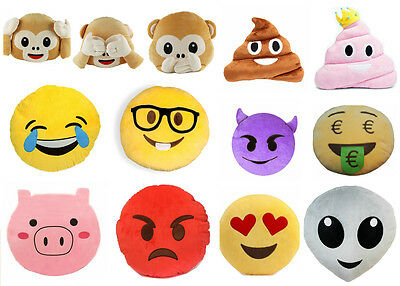 Emoji Pillows 32cm Smiley Plushed Stuffed Cushions Cool Designs Perfect Gift