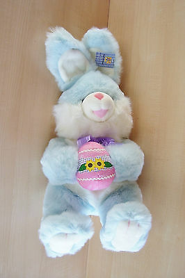 "Dan Dee ~ Soft Expressions - 15"" Plush Blue Easter Bunny Holding An Egg, New"