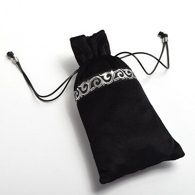 Black Tarot Pouch Case Handmade Wallet Purse Gift Drawstring Wicca Cards Bag