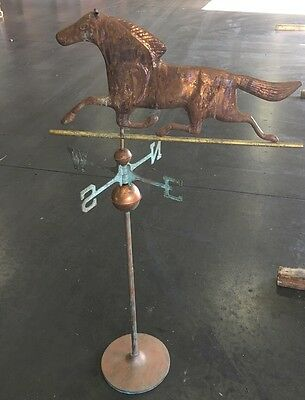 Complete Antique Copper Running Horse Weathervane Directionals,Balls,Poll&Stand
