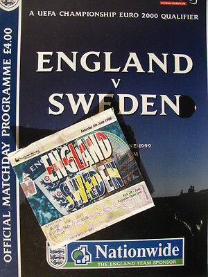 ENGLAND v SWEDEN 1998-99 PROGRAMME & TICKET IN EXCELLENT CONDITION AT WEMBLEY