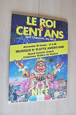 Le Roi A Cent Ans ~ Nice Carnaval Du Siecle ~ 1984 ~ Poster Board Mounted Vtg