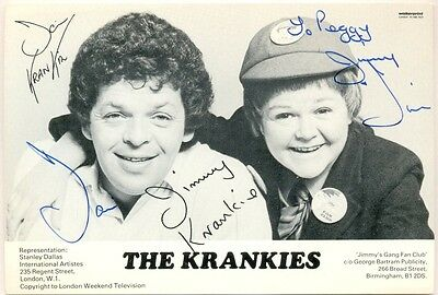 The Krankies signed postcard autograph 1980s Scottish comedy duo Jimmy Krankie