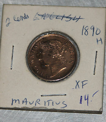 Mauritius 2 Cents 1890 H World Coin (cleaned?),  East Africa