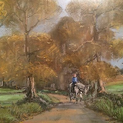 ORIGINAL PASTEL DRAWING of a countryside  scene by J Osborne Framed
