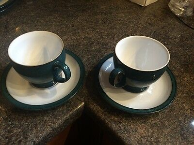 Denby Greenwich Tea Cups And Saucers