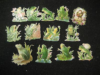 Victorian Trade Card Die Cut Frogs Toads