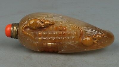 Exquisite China Natural agate Hand carving mouse snuff bottle