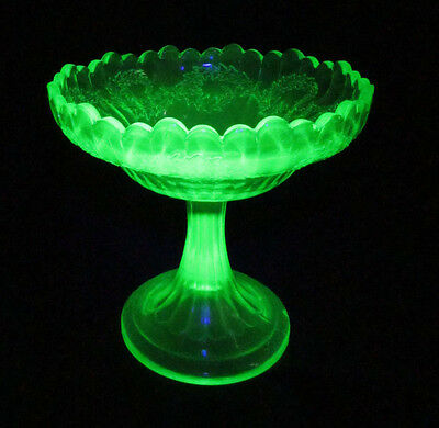Antique Northwood Uranium Glass Ivy Scroll Green EAPG Optic Compote Comport 1900