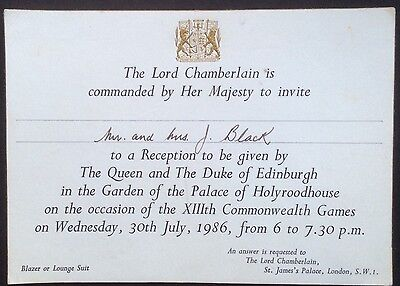 Invitation From The Queen To A Reception At Holyroodhouse Garden, 1986