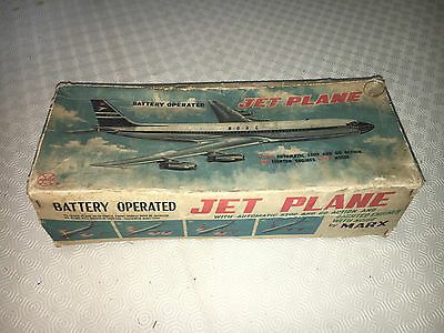 VINTAGE 70's BATTERY OPERATED TIN MADE JET PLANE MARX BOXED WORKING RARE