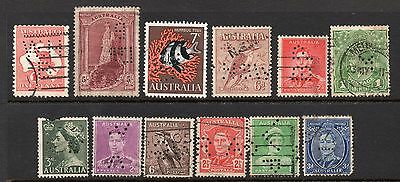 Australia x 12 Used Perfins See Scans For Full Detail & Condition Etc