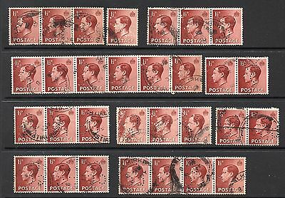 1936 Edward VIII 1½d SG459 x 30 Used Including Multiples All C/CC Perfins