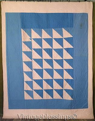 """Antique Amish or Mennonite Pink & Blue QUILT Never Used 91"""" x 71"""""""