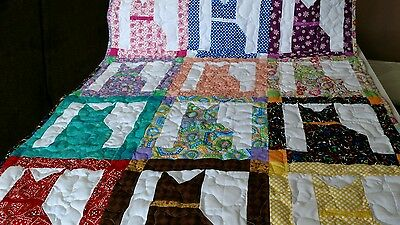 Handcrafted Boy Girl Pieced Cat Baby Crib Lap Throw Quilt Handmade Multi Colors