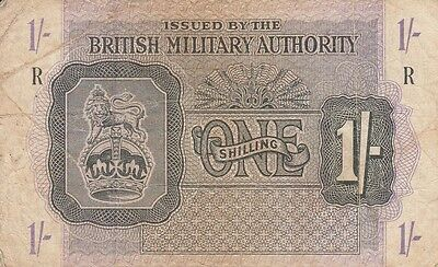 """British Military Authority banknote 1/- """"R"""" (Greece) 1943"""