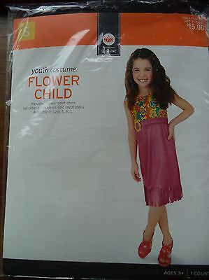 NWT Girls Small S (4-6) Flower Child Hippie 1960's Costume Dress