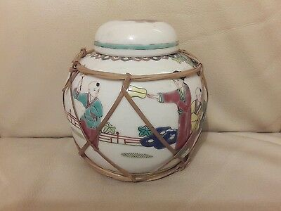 Hand painted oriental ginger jar with bamboo weave decoration