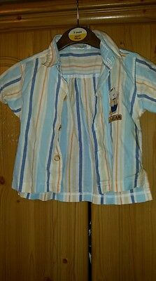 Baby Boys Cotton Stripe Shirt. Age 3-6 Months. By C&A.