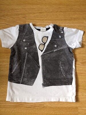 H&m Baby Boys Girls Tshirt 6-9 Months Leather Jacket Print And Sunglasses White