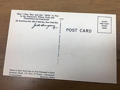 Vintage- Jack Dempsey Post Card From His Restaurant, Awesome Condition..look