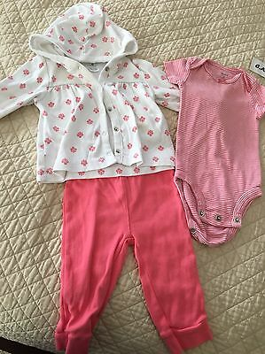 Carter's Baby Girl 3 Piece Outfit Ensemble Set Size 6 Months Hooded Jacket Onsie