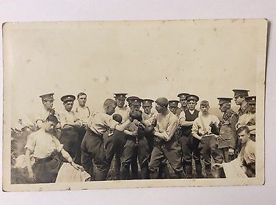 vintage postcard, Army, Boxing match, Bulford Camp, sent to Yorkshire, clues