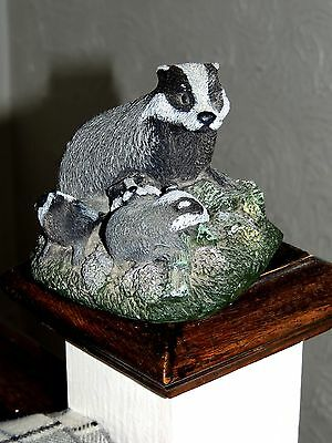 Badger  with 3 Cubs  Heavy Quality Hand Made Ornament